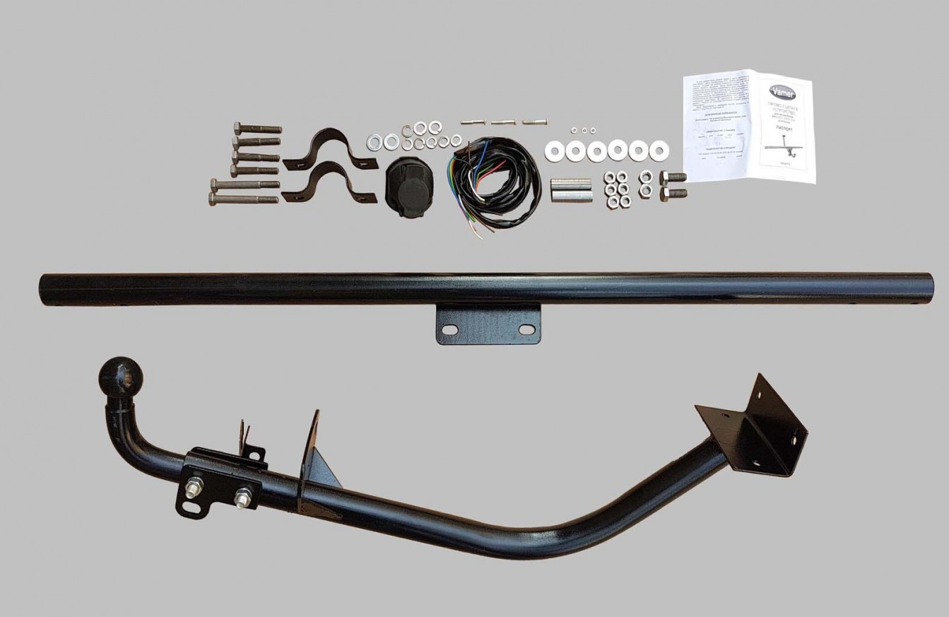 Towbar kit with electric system and removable ball